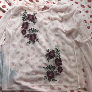 Bell-Sleeve Embroidered Mesh Top